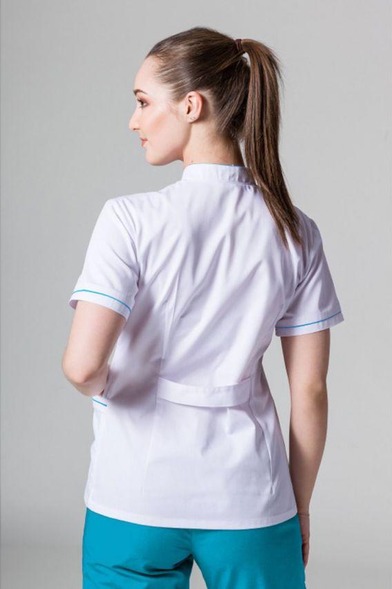 zakiety Lékařské sako 01 Sunrise Uniforms bílé s tyrkysovým lemem