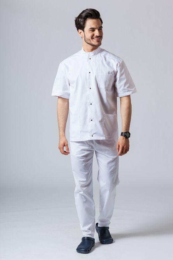 bluzy-1-1 Pánská zdravotnická košile/halena se stojatým límečkem bílá