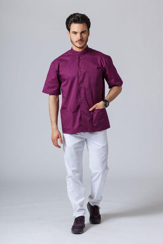 bluzy-medyczne-meskie Pánská zdravotnická košile/halena se stojatým límečkem lilek