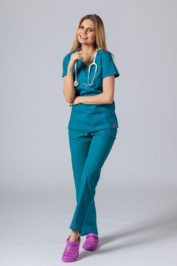 bluzy-medyczne-damskie Lékařská halena Maevn Red Panda Asymetric mořsky modrá