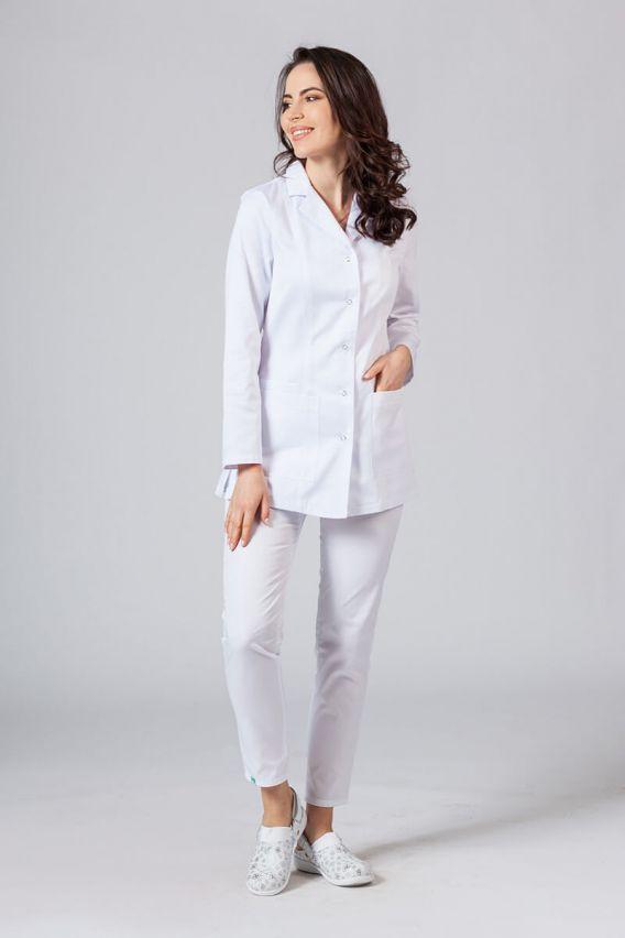 fartuchy-medyczne-damskie Krátká zástěra s dlouhým rukávem (odkryté cvoky) bílá