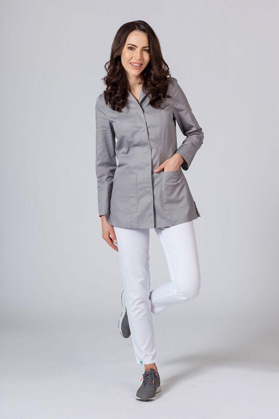 fartuchy-medyczne-damskie Krátká zdravotnická zástěra s dlouhým rukávem (zakryté cvoky) šedá