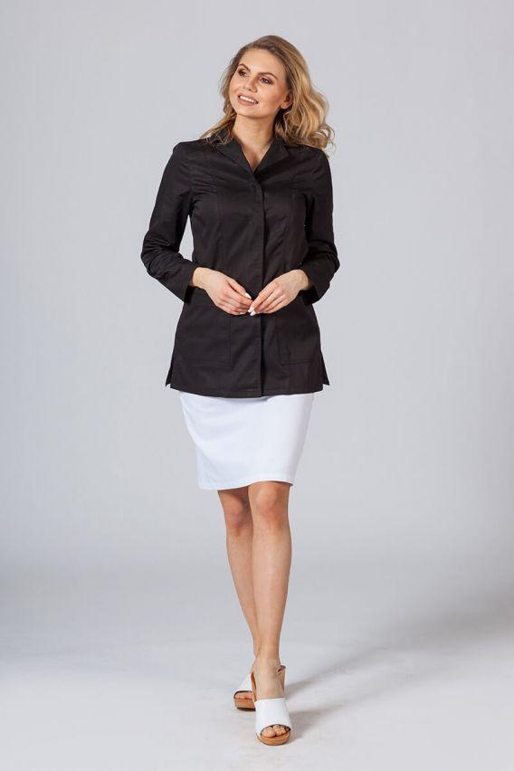 fartuchy-medyczne-damskie Krátká zdravotnická zástěra s dlouhým rukávem (zakryté cvoky) černá