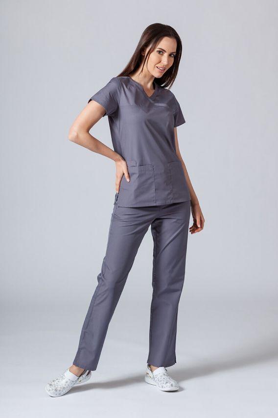 bluzy-medyczne-damskie Lékařská halena Maevn Red Panda Asymetric šedá