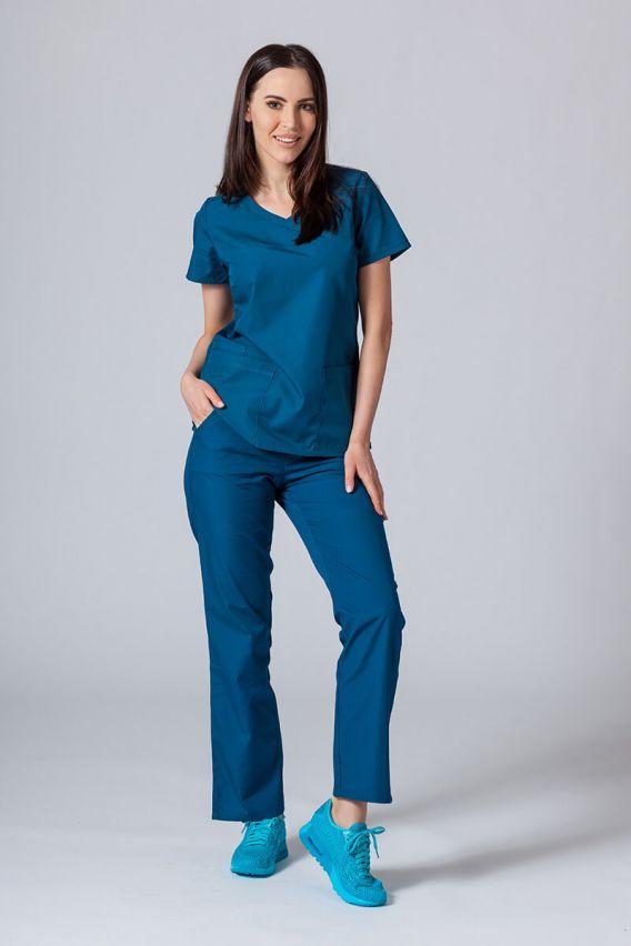 bluzy-medyczne-damskie Lékarská blúzka Maevn Red Panda Asymetric Karibská modrá