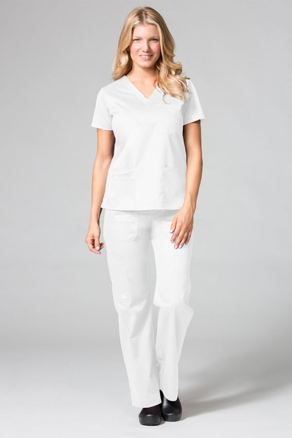 bluzy-medyczne-damskie Lékarská blúzka Maevn Blossom (elastic) biela