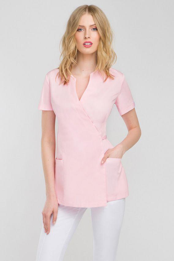 bluzy-2 Zdravotnická / kosmetická zástěra na zapínání Vena Spa 4 pudrová růžová