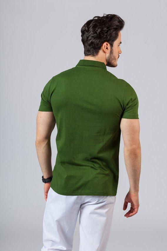 koszulki-medyczne-meskie Pánské Polo tričko lahvově zelená