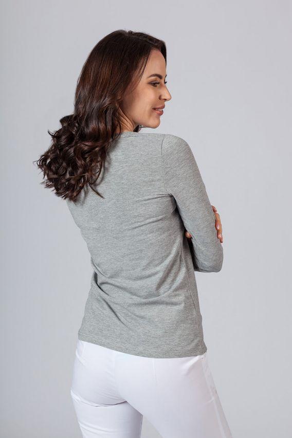 koszulki-medyczne-damskie Dámske tričko s dlhým rukávom šedé