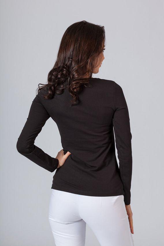 koszulki-medyczne-damskie Dámske tričko s dlhým rukávom čierne