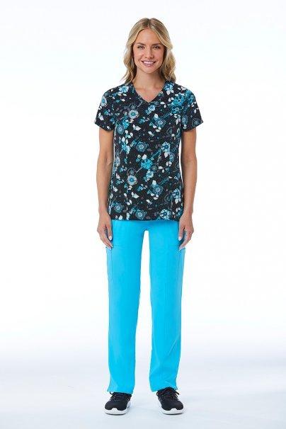 bluzy-we-wzory Lékarská blúzka Maevn Prints modrá kytica