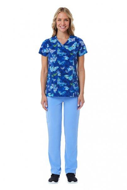 bluzy-we-wzory Lékarská blúzka Maevn Prints Modrý motýľ