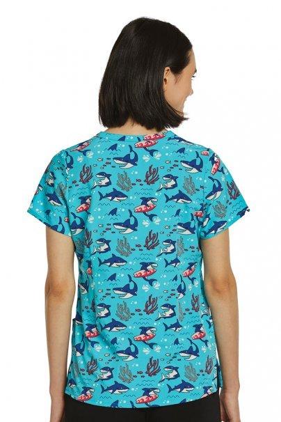 bluzy-we-wzory Lékarská blúzka Maevn Prints surfovanie so žralokmi