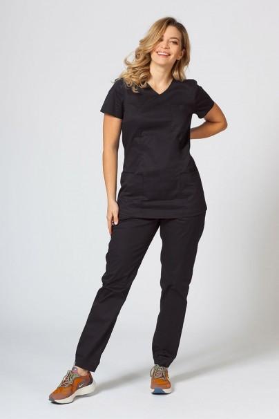 bluzy-medyczne-damskie Dámska lekárska blúzka Sunrise Uniforms Fit (elastická), čierna