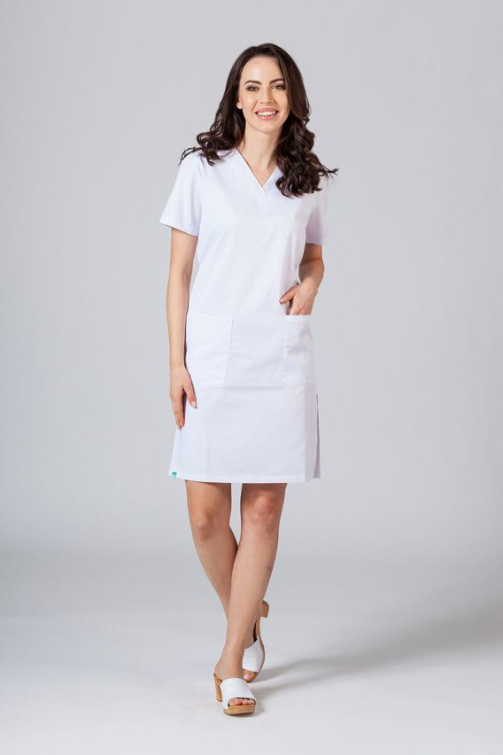 sukienki Lékarské Jednoduché šaty Sunrise Uniforms biele