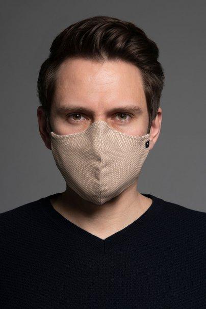 maski-ochronne Heritage ochranná maska, 2vrstvá (70% bavlna, 28% len, 2% elastan) s bambusovou podšívkou, unisex, béžová