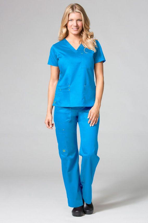 bluzy-medyczne-damskie Lékařská halena Maevn (elastic) Blossom modrá