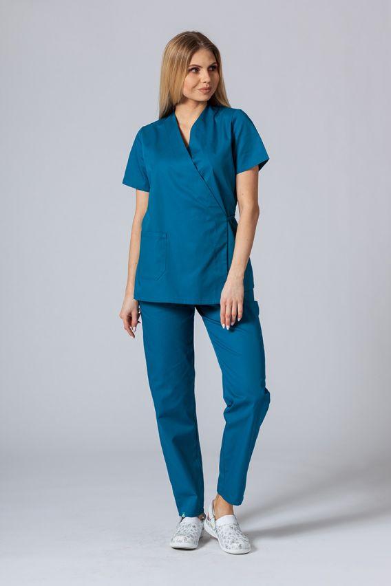 bluzy-medyczne-damskie Zástěra/dámská halena s vázáním Sunrise Uniforms karibsky modrá