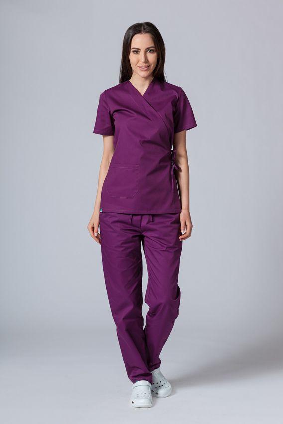 bluzy-medyczne-damskie Zástěra/dámská blúzka s vázáním Sunrise Uniforms baklažánová