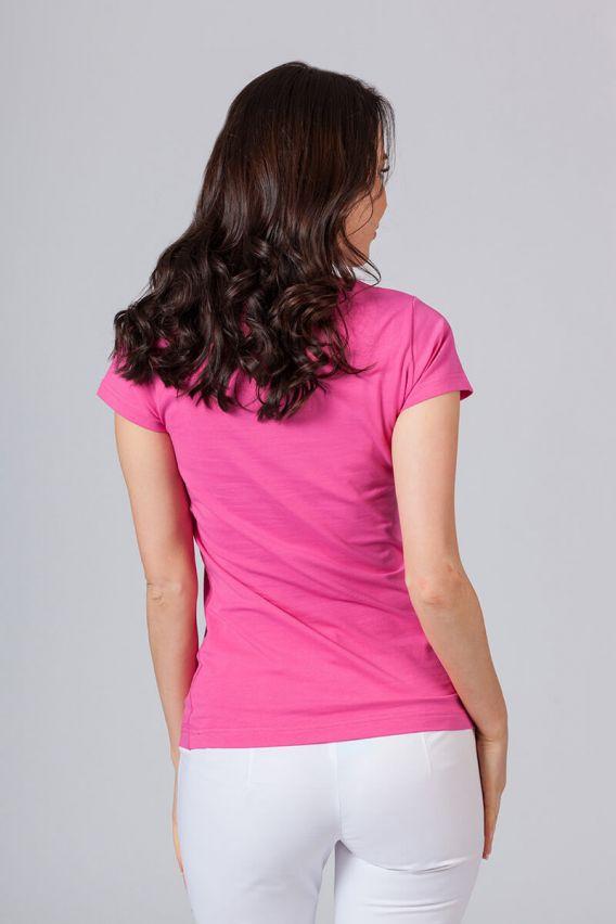 koszulki-medyczne-damskie Dámske tričko s krátkym rukávom malinové