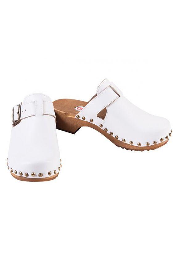 obuwie-medyczne-damskie Pohodlné dřeváky Buxa model PE15 bílé