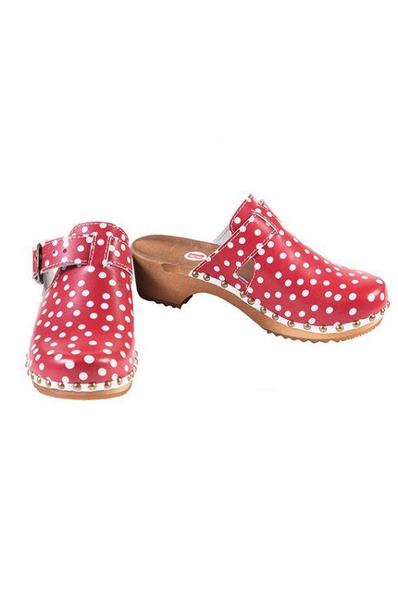 obuwie-medyczne-damskie Pohodlné dřeváky Buxa model PE15 červené s puntíky