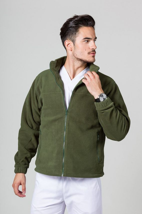 bluzy-polarowe-meskie Pánská mikina zelená
