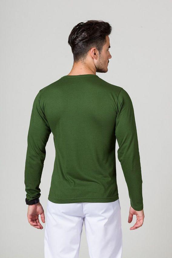 koszulki-medyczne-meskie Pánské tričko s dlouhým rukávem lahvově zelená