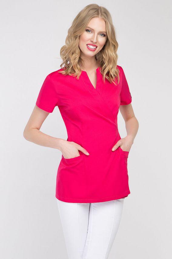 bluzy-medyczne-damskie Zdravotnická / kosmetická zástěra na zapínání Vena Spa 4 amarant