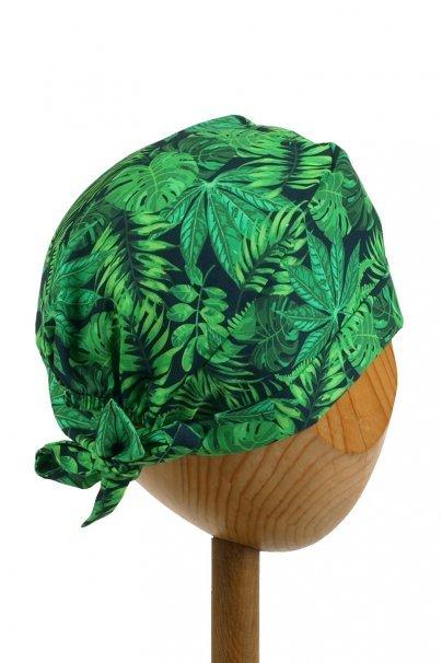 czepki-damskie Zdravotnícka čiapka zavinovacia Sunrise Uniforms Style Unisex zelené listy