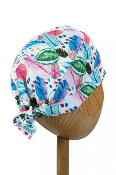 czepki-damskie Zdravotnícka čiapka zavinovacia Sunrise Uniforms Style Unisex maľované listy a pierka