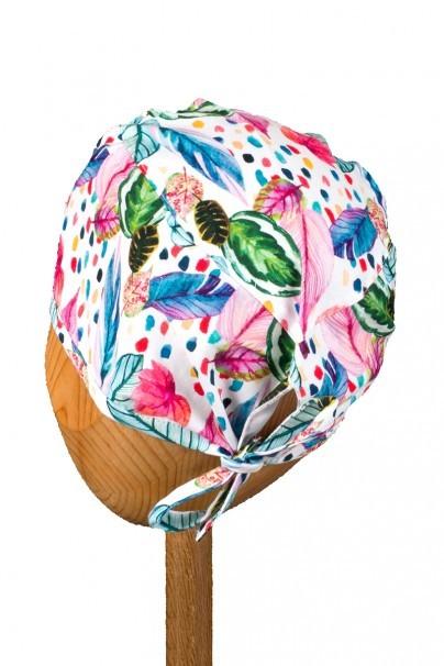 czepki-damskie Zdravotnícka čiapka Sunrise Uniforms Style Unisex maľované listy a pierka