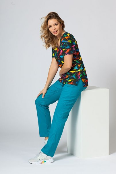vzorovane-haleny Farebná lekárska halena Sunrise Uniforms pre ženy dinosaury