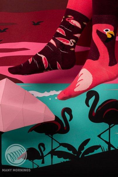 skarpetki Farebné ponožky Pink Flamingo - Many Mornings