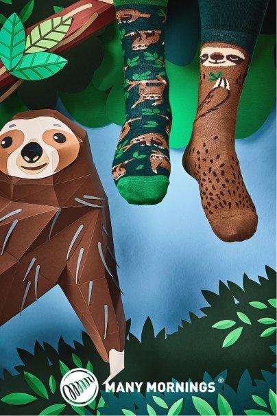skarpetki Farebné ponožky Sloth Life - Many Mornings