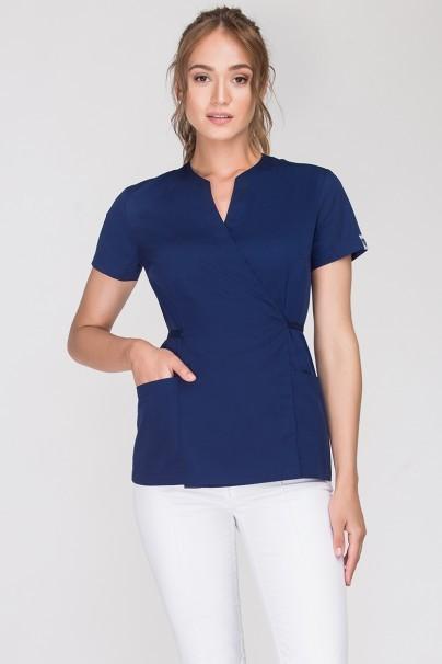 bluzy-medyczne-damskie Zdravotnická / kosmetická zástěra na zapínání Vena Spa 4 tmavě modrá