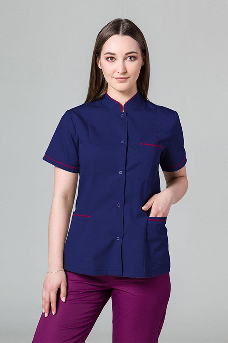 Lékařské sako 01 Sunrise Uniforms tmavě modre s malinovým lemem