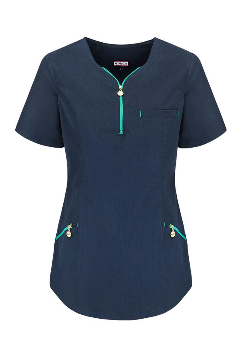Dámská zdravotnická halena s výstřihem na zapínání MeCleo námořnická modř + zelená