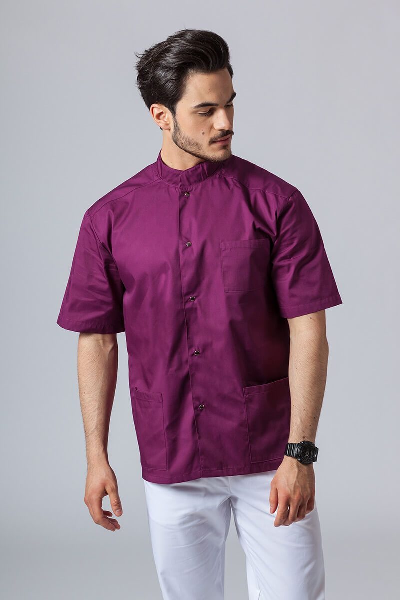 Pánská zdravotnická košile/halena se stojatým límečkem lilek