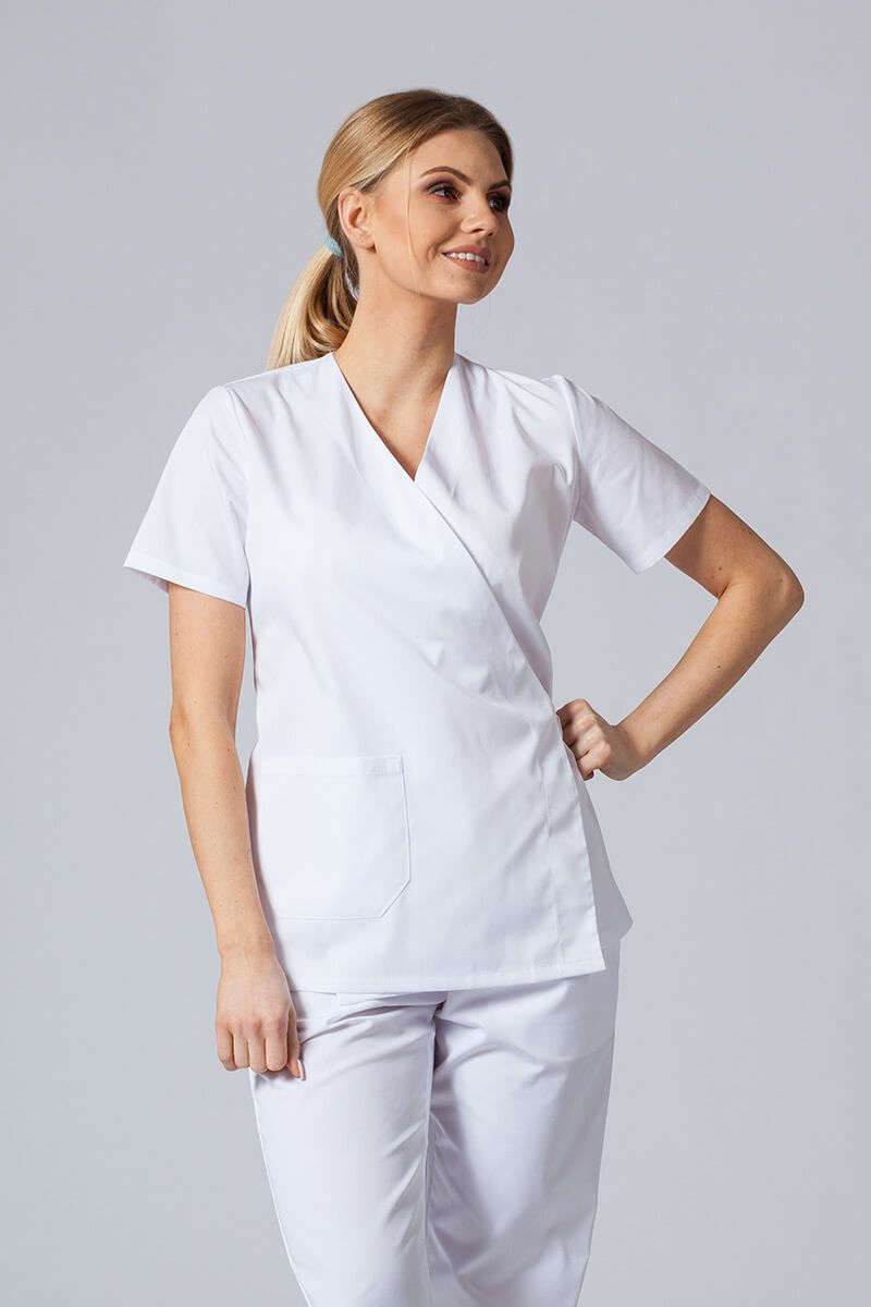 Zástěra/dámská halena s vázáním Sunrise Uniforms bílá