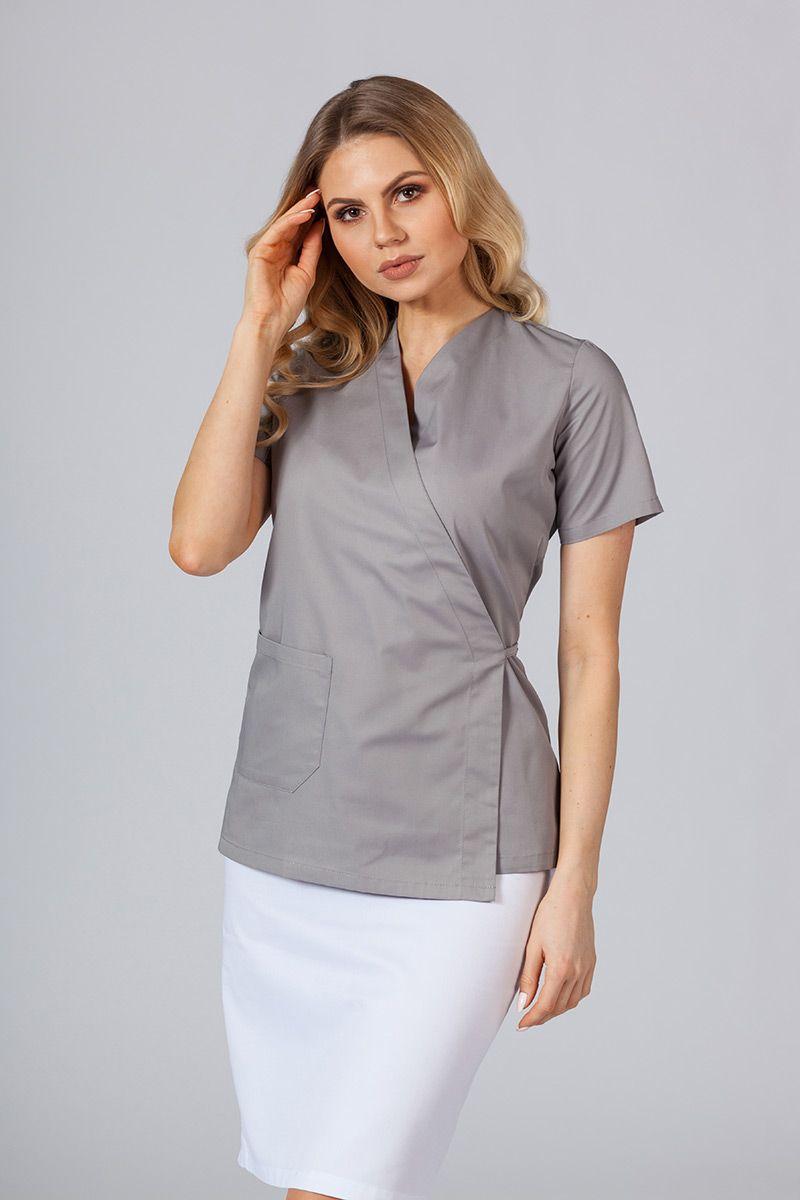Zástěra/dámská halena s vázáním Sunrise Uniforms šedá