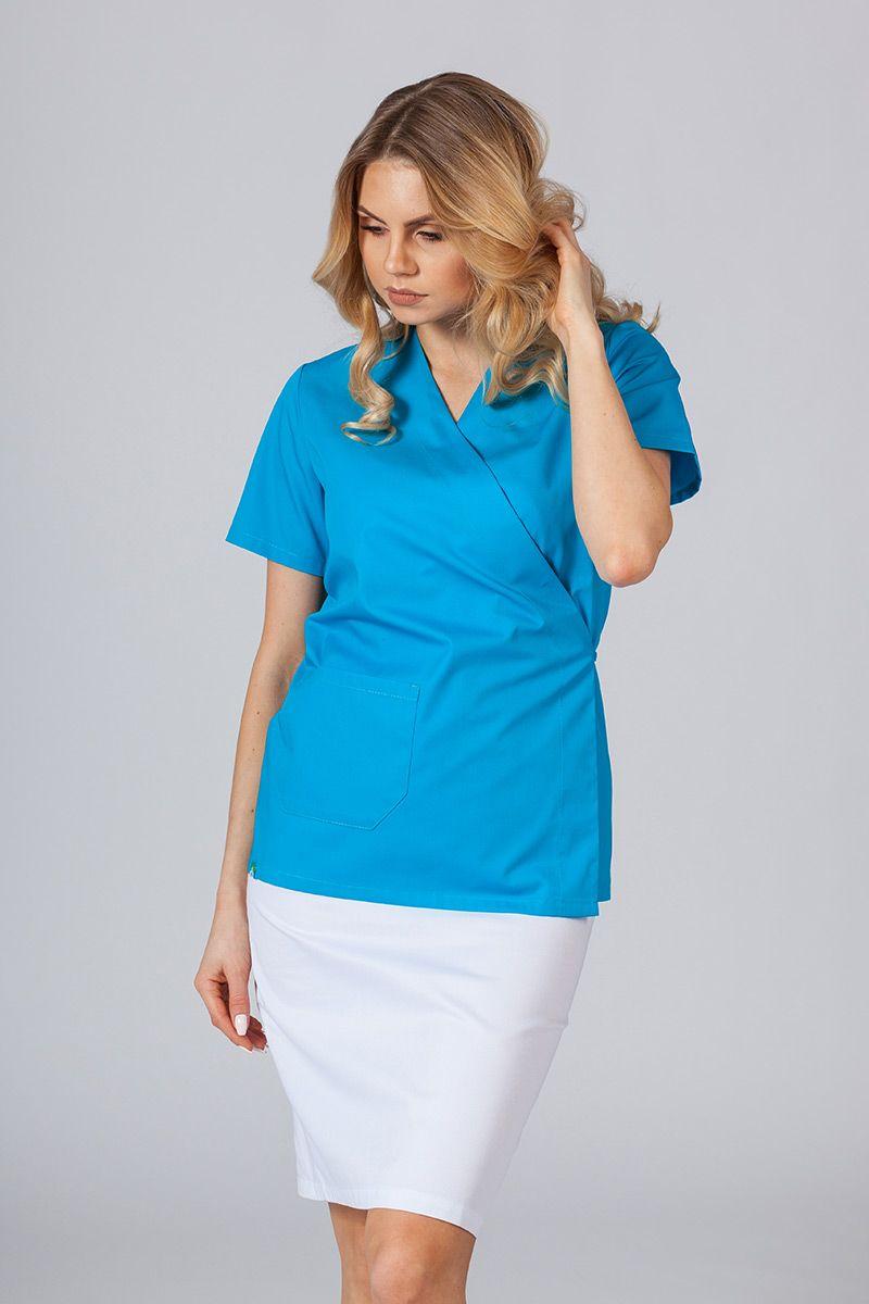 Zástěra/dámská blúzka s vázáním Sunrise Uniforms tyrkysová