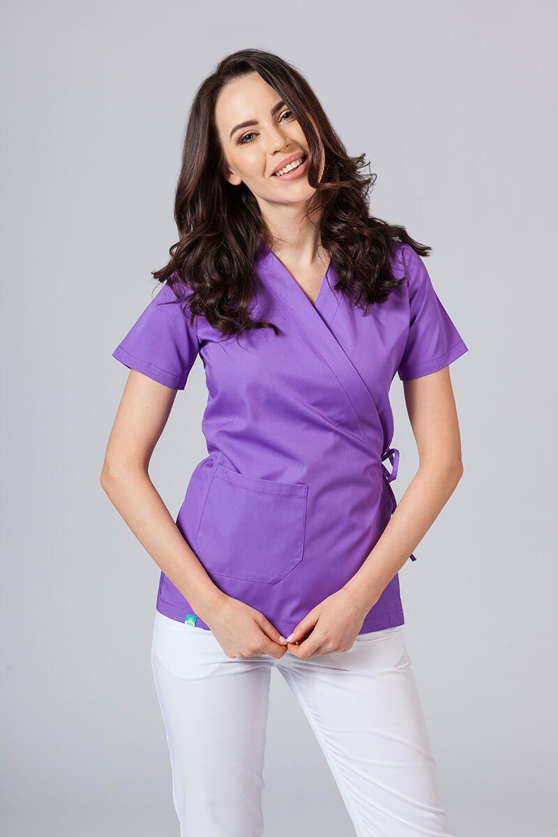 Zástěra/dámská blúzka s vázáním Sunrise Uniforms fialová