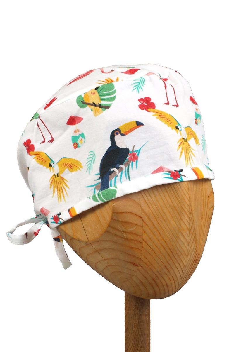 Zdravotnícka čiapka Sunrise Uniforms Style Unisex plameniaky, papagáje a tukani