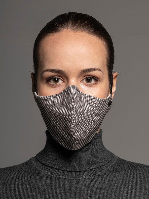 Heritage ochranná maska, 2vrstvá (70% bavlna, 28% len, 2% elastan) s bambusovou podšívkou, unisex, hnědá