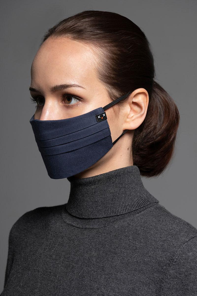 Ochranná maska, dvouvrstvá (100% bavlna), unisex, tmavo modrá