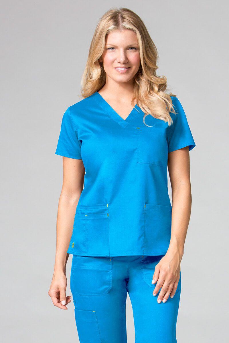 Lékarská blúzka Maevn Blossom (elastic) modrá