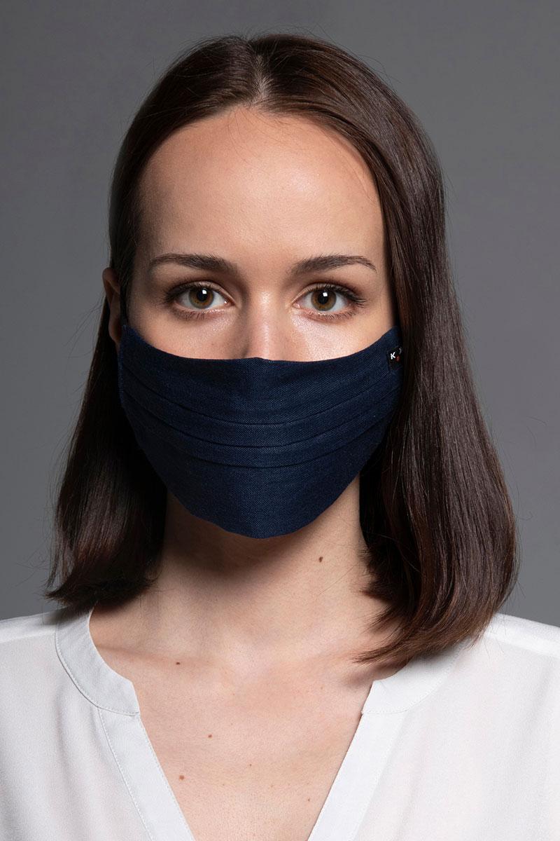 Ochranná maska, dvouvrstvá (100% len), unisex, námornícká modrá