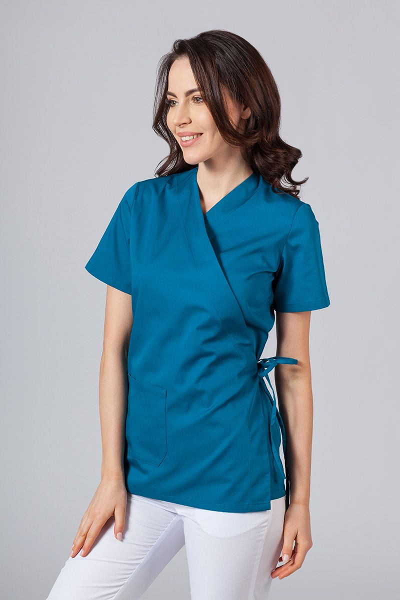 Zástěra/dámská halena s vázáním Sunrise Uniforms karibsky modrá