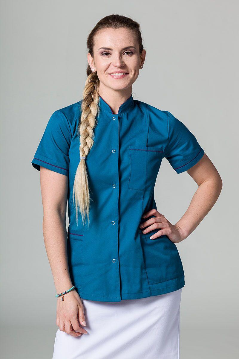 Lékařské sako 01 Sunrise Uniforms karaibské s lilkovým lemem